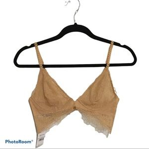 Free People Underwire Lace Bra Size 32C Wheat NWT